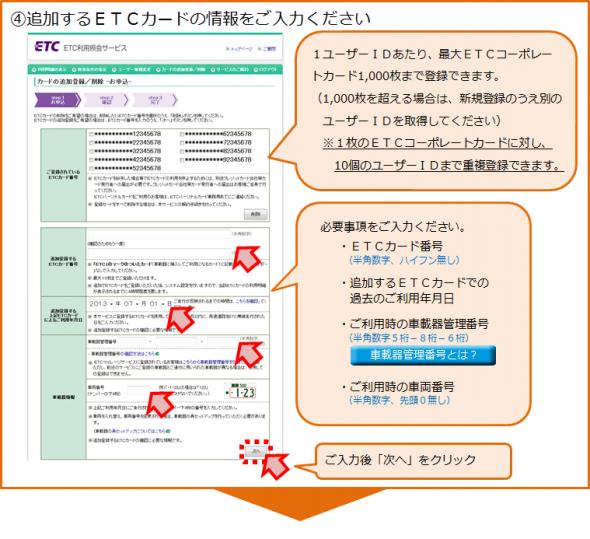 ETCカードの追加登録手順4