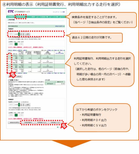 利用明細書、利用明細出力の手順4